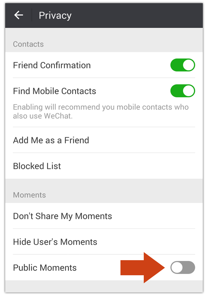 delete wechat public moments