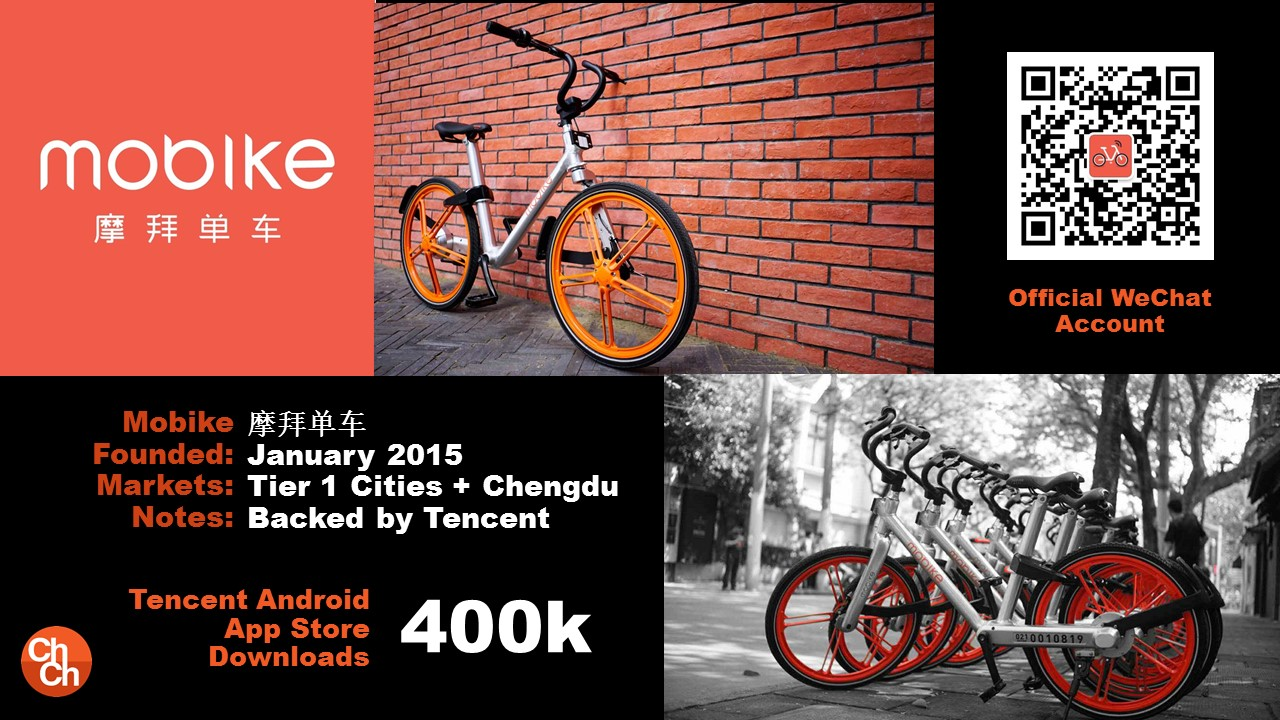 Mobike 摩拜单车 January 2015 Tier 1 Cities + Chengdu Backed by Tencent Tencent Android App Store Downloads 400k