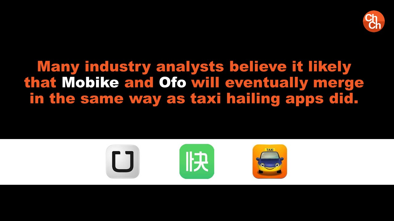 Many industry analysts believe it likely that Mobike and Ofo will eventually merge in the same way as taxi hailing apps did.
