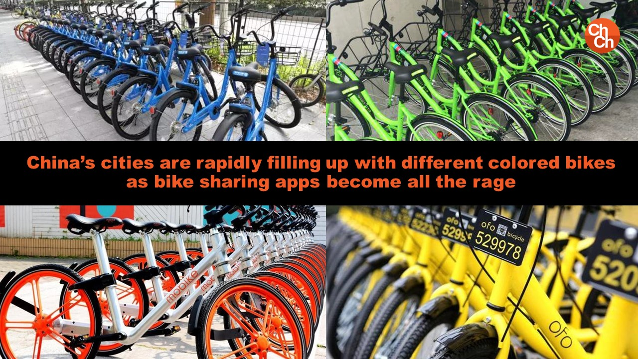 China's cities are rapidly filling up with different colored bikes as bike sharing apps become all the rage