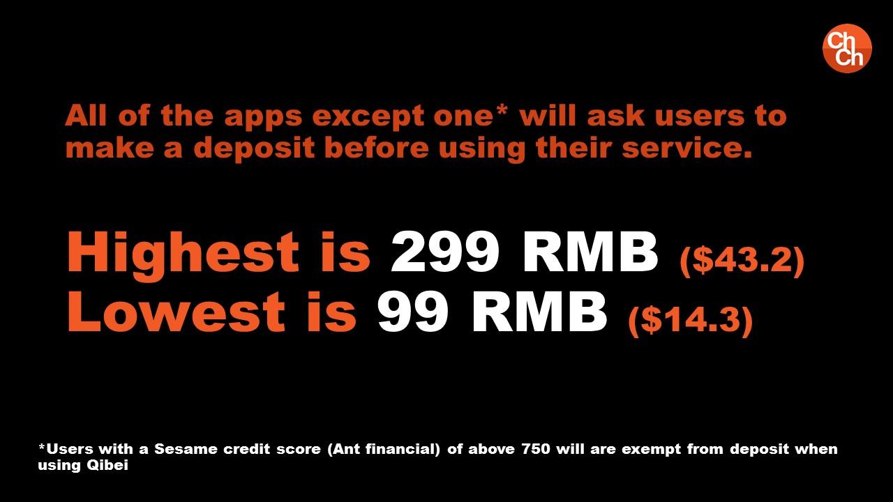 All of the apps except one* will ask users to make a deposit before using their service. Highest is 299 RMB ($43.2) Lowest is 99 RMB ($14.3)