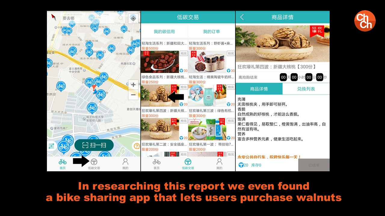 In researching this report we even found a bike sharing app that lets users purchase walnuts
