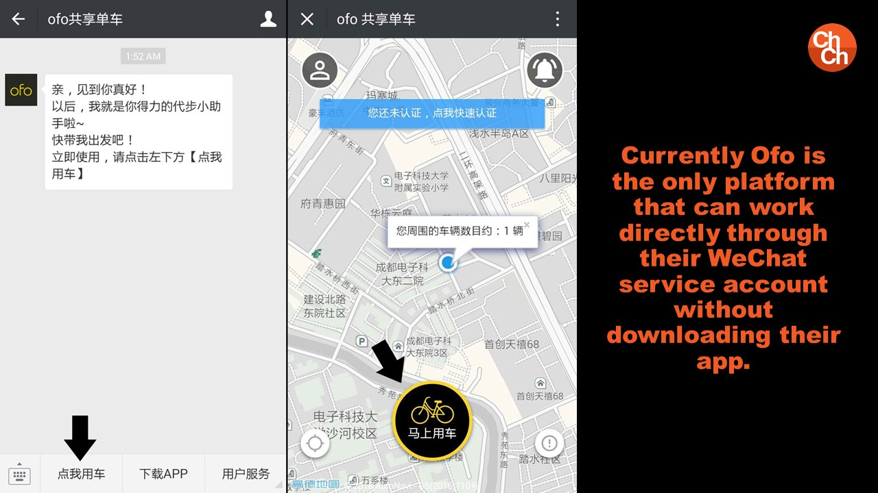 Currently Ofo is the only platform that can work directly through their WeChat service account without downloading their app.