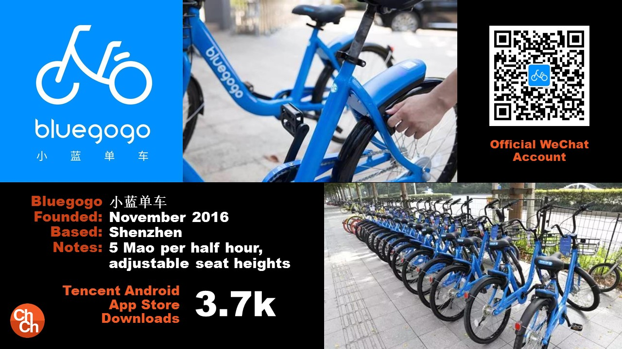 Bluegogo 小蓝单车 November 2016 Shenzhen 5 Mao per half hour, adjustable seat heights Tencent Android App Store Downloads 3.7k