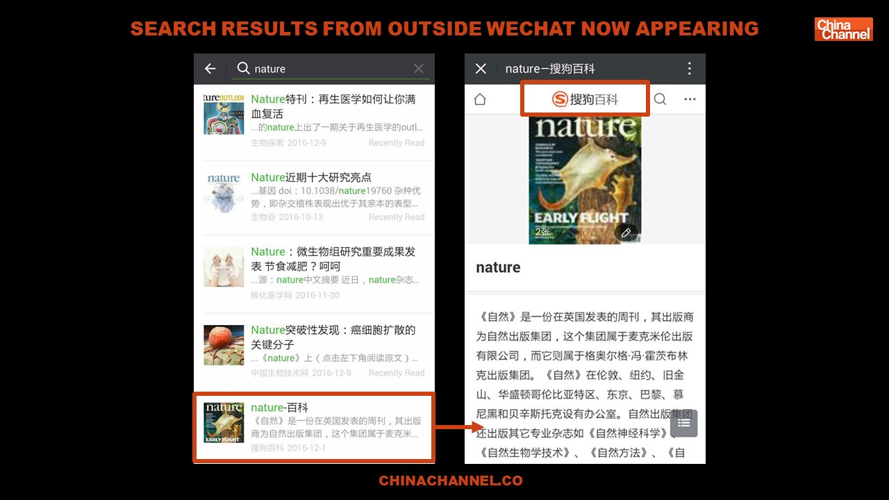 Search Results from outside wechat now appearing