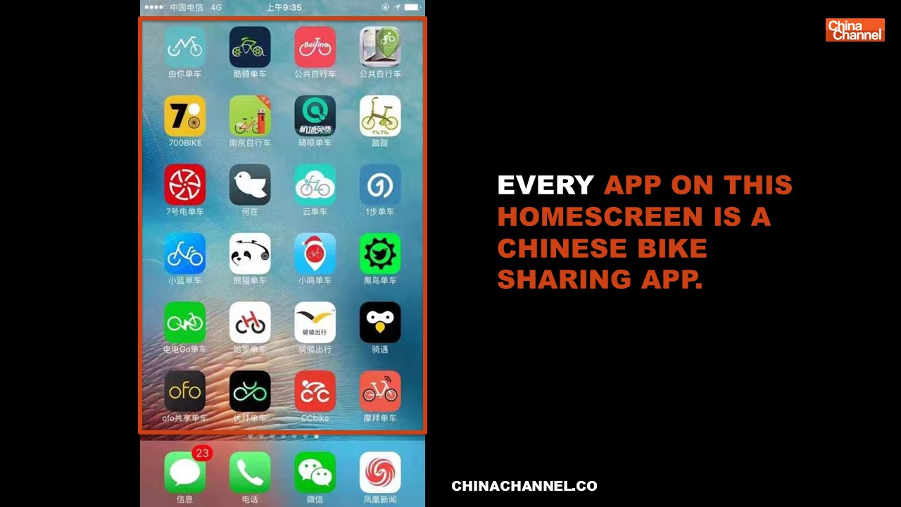 EVERY APP ON THIS HOMESCREEN IS A CHINESE BIKE SHARING APP