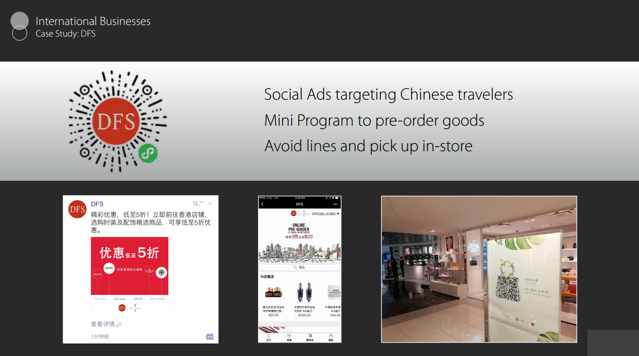 Social Ads Targeting Chinese Travelers. Mini Program to Pre-Order Goods Avoid Lines And Pick Up In-Store.