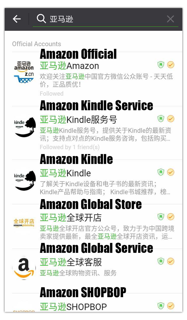 Amazon WeChat accounts