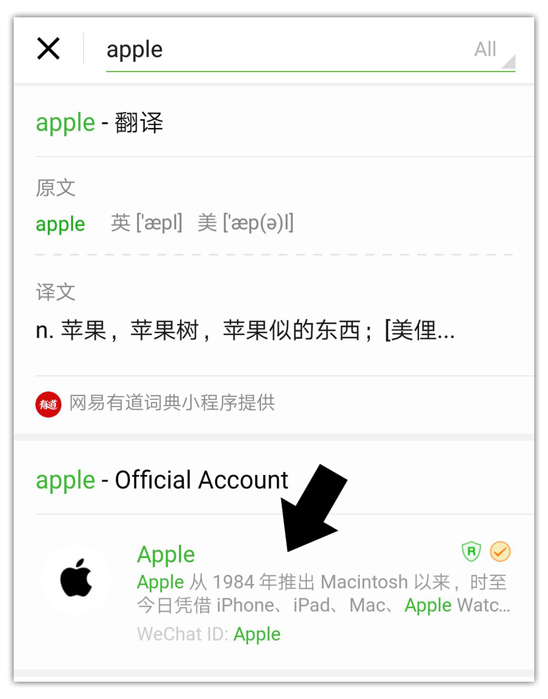 Search for Apple on WeChat